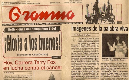 Granma News article about Gabriella